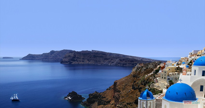 Crescent-shaped Santorini (or Thíra), the precious gem of the Aegean, is actually a group of islands
